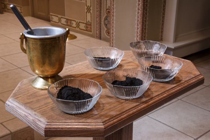 bowls of ashes on Ash Wednesday